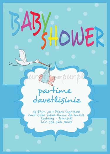 Renkli baby shower davetiyesi