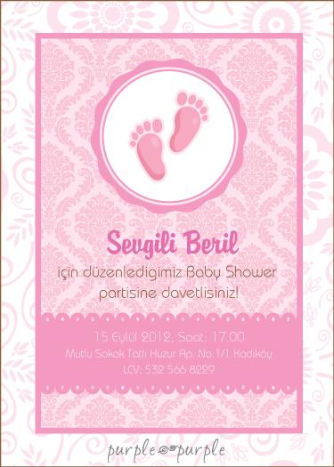 Damask desenli baby shower davetiyesi – kız bebek