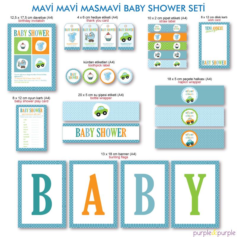Mavi Mavi Masmavi Baby Shower Parti Seti