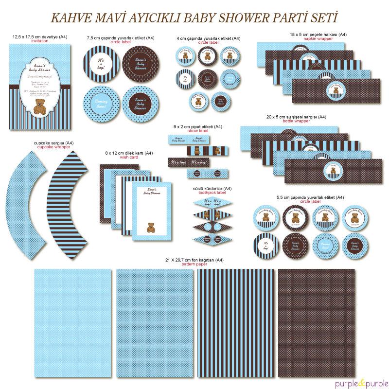 Kahve Mavi Ayıcıklı Baby Shower Parti Seti