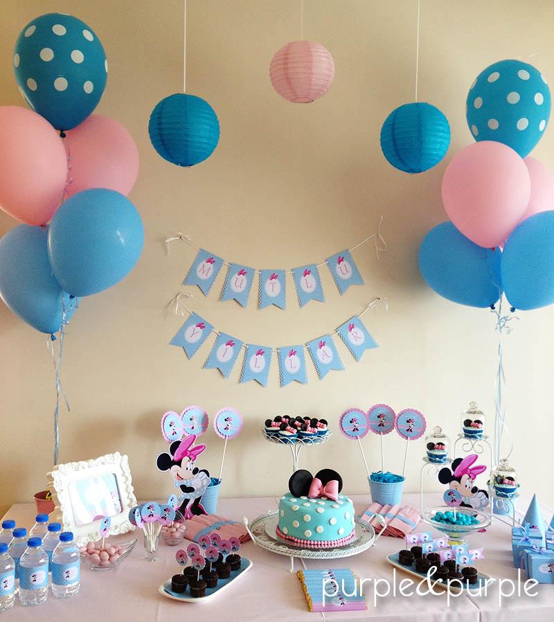 Pembe Mavi Doğum Günü Masası