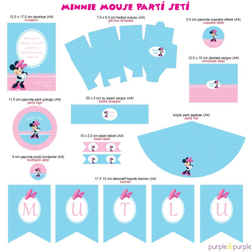 Minnie Mouse Temalı Parti Seti