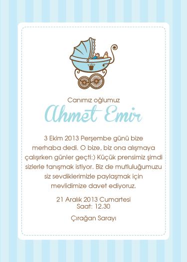 Ahmet Emir'in mevlid davetiyesi