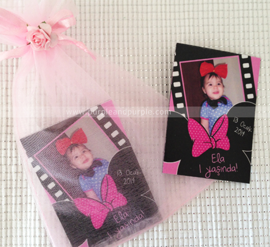 Ela'nın Minnie temalı doğum günü ürünleri