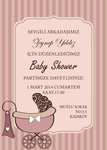 Leopar desenli baby shower davetiyesi