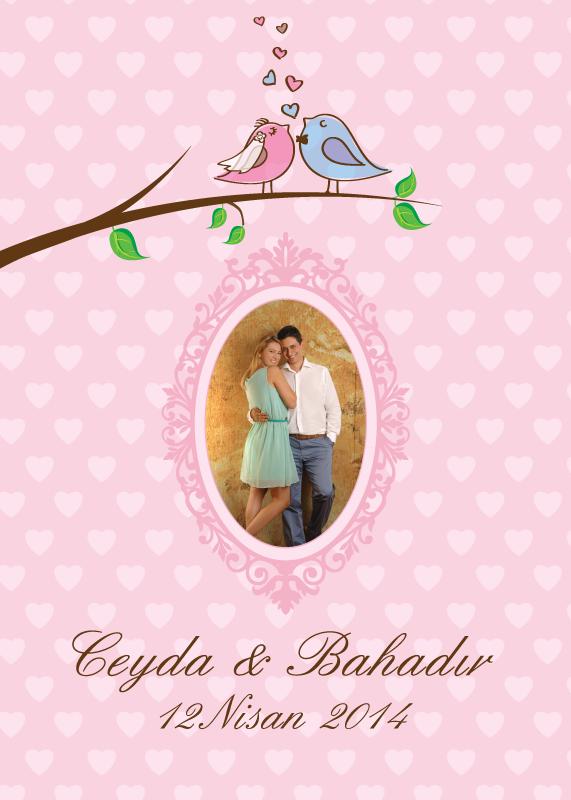 Kuş temalı pembe kalpli düğün menüsü ve hoşgeldiniz  posteri