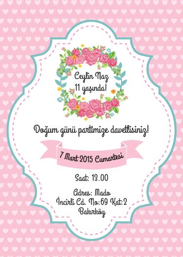 Pembe kalpli floral temalı doğum günü davetiyesi