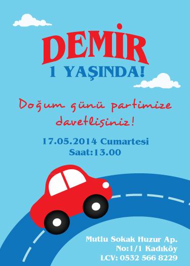 Kırmızı arabalı doğum günü davetiyesi