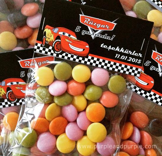 Rüzgar'ın Şimşek McQueen temalı bonbon şekerleri