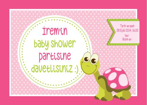 Kaplumbağa temalı baby shower davetiyesi