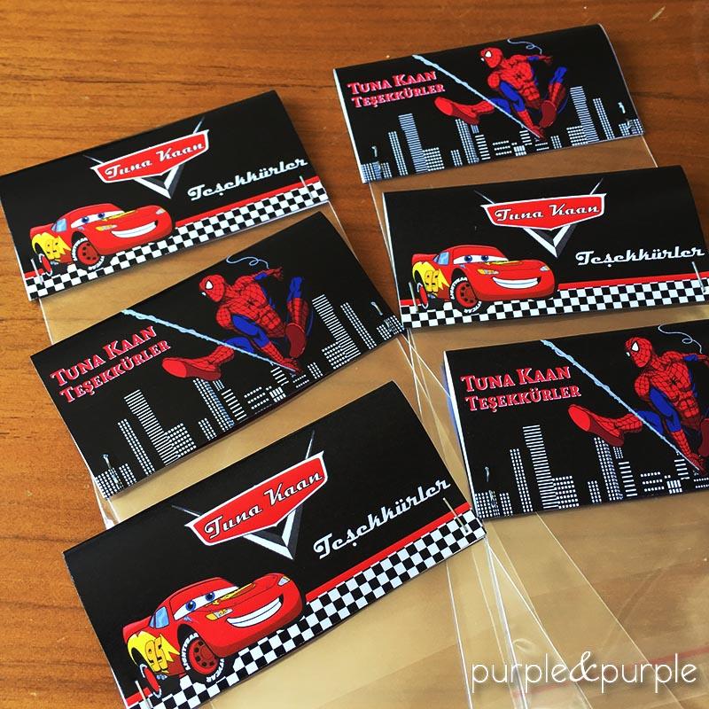 Spiderman ve Şimşek Mc Queen Temalı Şeker Poşeti