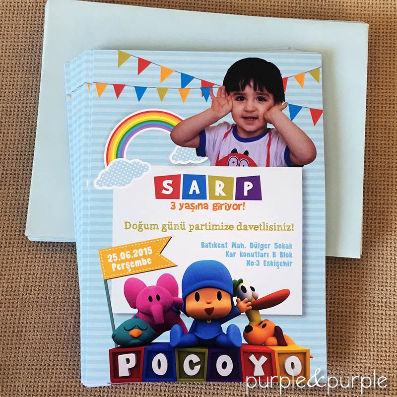 Pocoyo temalı doğum günü davetiyesi