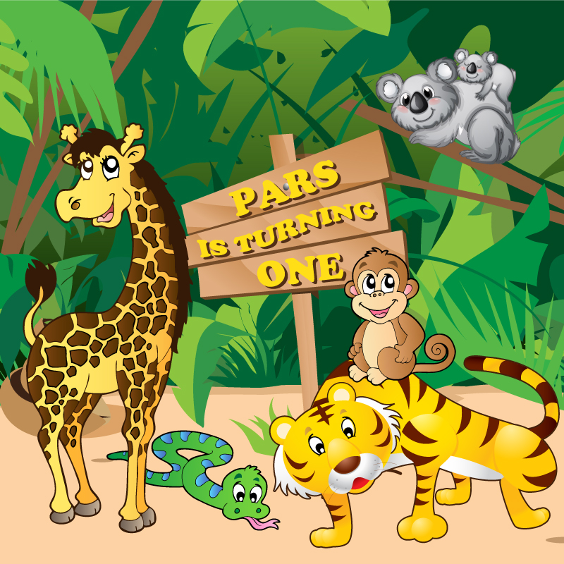 Safari Temalı Doğum Günü Partisi Poster