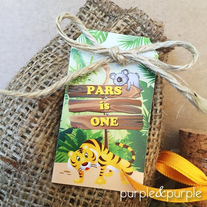 Safari temalı hediye etiketi