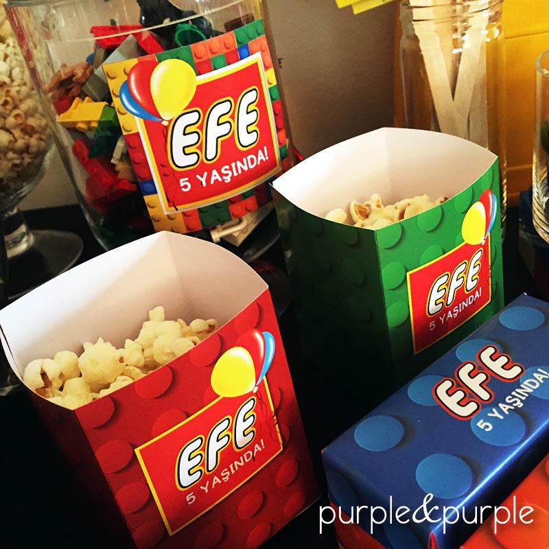 Lego Temalı Popcorn Kutusu ve Parti Etiketleri