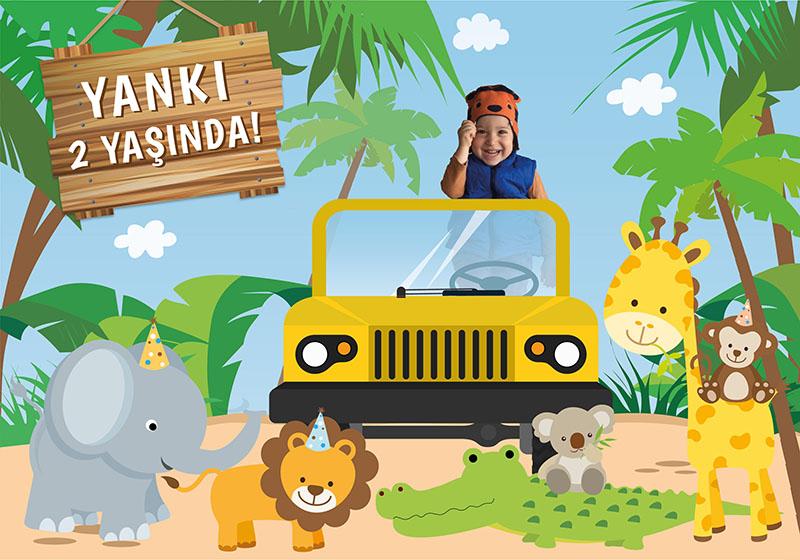 safari temalı doğum günü posteri