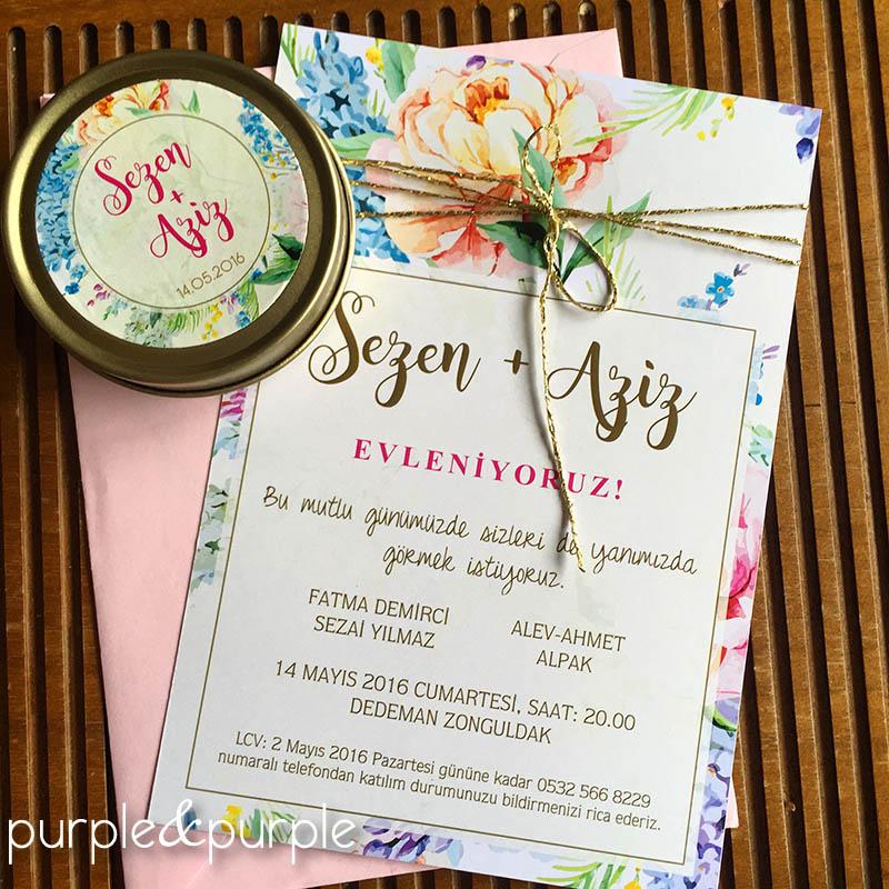 Çiçekli düğün davetiyesi - Davetiye Kodu: DD015