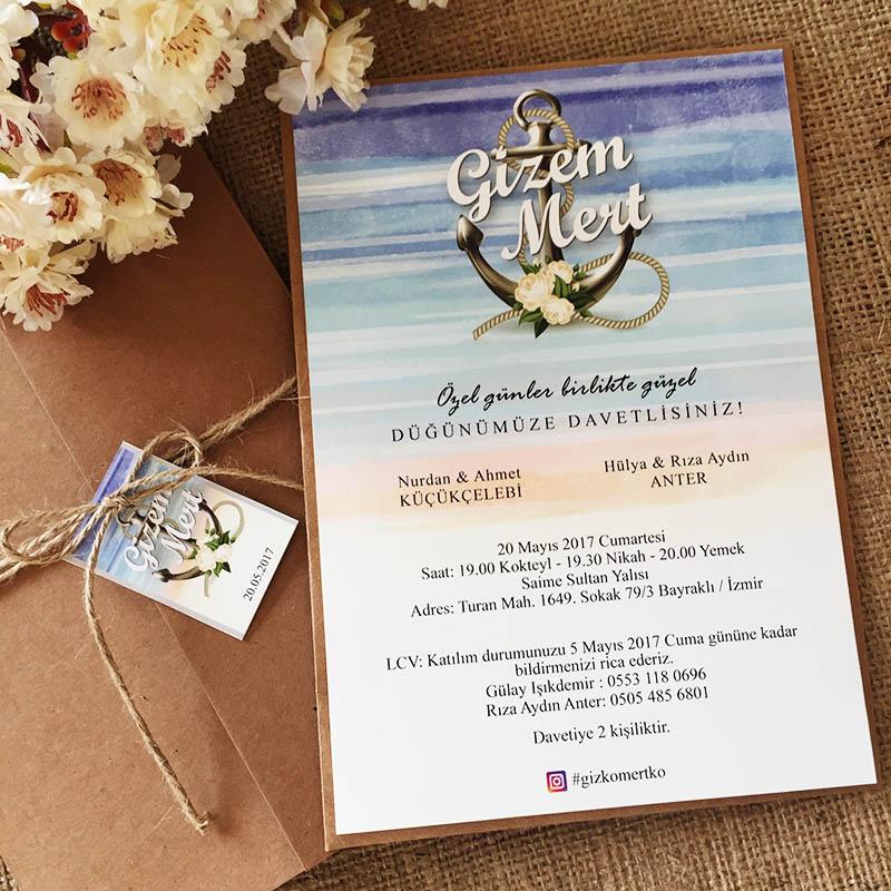 Çapa Temalı Düğün Davetiyesi