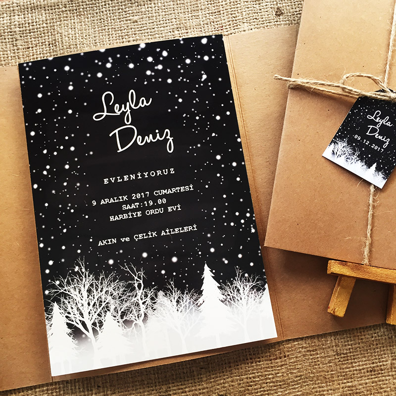 Kar kış temalı düğün davetiyesi